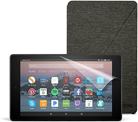 Fire HD 8 Essentials Bundle with Fire HD 8 Tablet (16 GB, Black), Amazon Cover (Charcoal Black) and Screen Protector (Clear)