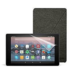 All-New Fire HD 8 Essentials Bundle with Fire HD 8 Tablet (16 GB, Black), Amazon Cover (Charcoal Black) and Screen Protector (Clear)