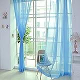 Mysky 1 PCS Pure Color Tulle Door Window Curtain Drape Panel Sheer Scarf Valances (Sky Blue A)