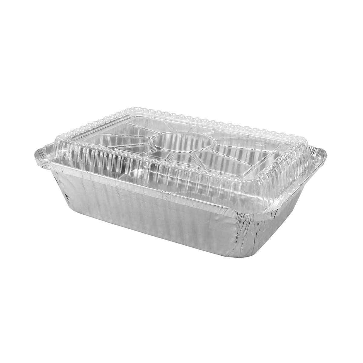 Disposable Aluminum 2 1/4 Lb. Food Storage Pan with Clear Dome Lid #250P (250)