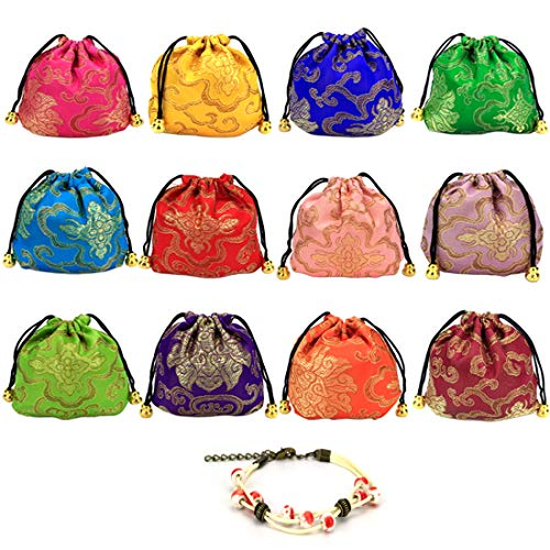GemEwell 12pcs Chinese Silk Brocade Embroidered Jewelry Pouch Drawstring Coin Purse(with 1 Ceramic Bracelet