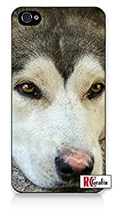 Siberian Husky Dog Direct Print (not a sticker) iPhone 5 Quality Hard Snap On Case for iPhone 5/5S - AT&T Sprint Verizon - Black Frame by supermalls