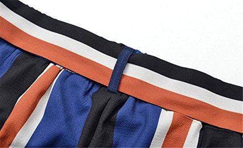 Estivi Pantaloni Cintura Pantaloni High Inclusa Tempo Spacco Casuale Pantaloni Colpo Larghi Elegante Waistchic Stripe Pureed Moda Blu Spiaggia Donna Pantaloni Libero UqwggE