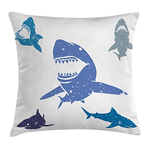 Shark Throw Pillow Cushion Cover by Ambesonne, Grunge Style Big and Small Sharks with Open Mouths Predator Jaws Dangerous Image, Decorative Square Accent Pillow Case, 40 X 40 Inches, Royal - Men With Jaws Square
