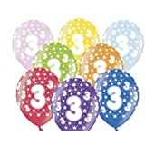 """SiDeSo® 10 Luftballons 12"""" bunt / mix metallic Party Geburtstag Jahrestag (Zahl 3)"""
