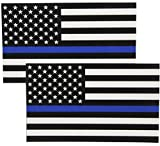 Automotive Accessories Exterior Truck Best Deals - Thin Blue Line Flag Decals - 3x5 in. Black, White, and Blue American Flag Stickers for Cars, Trucks - In Support of Police and Law Enforcement Officers (2-pack)