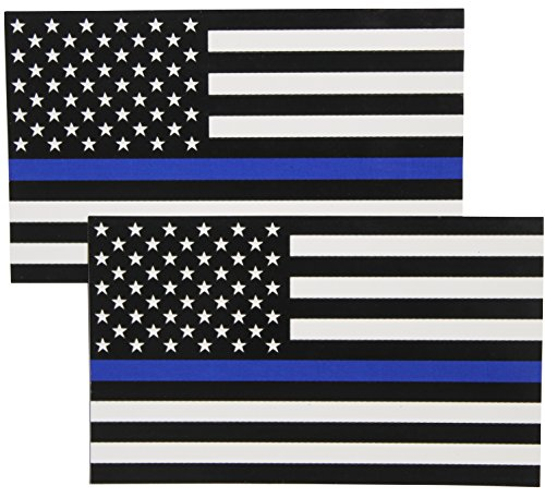 (Thin Blue Line Flag Decals - 3x5 in. Black White and Blue American Flag Stickers for Cars, Trucks - In Support of Police and Law Enforcement Officers)