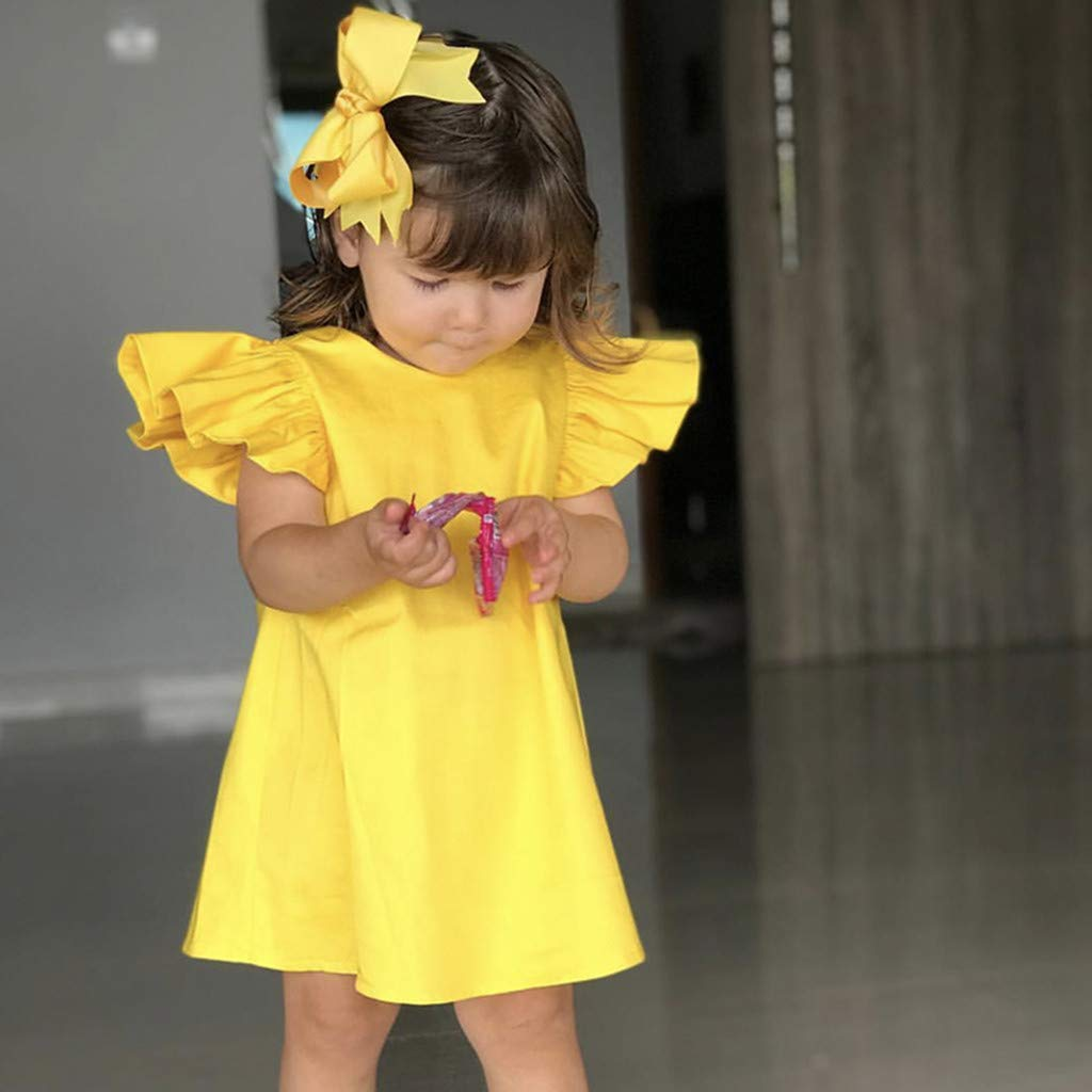 Dirance Toddler Girl 3Months-24Months Solid Color Flying Sleeve Bow Dress Breathable Cotton