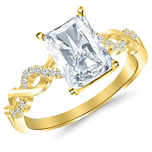 0.63 Carat t.w. 14K Yellow Gold Radiant Twisting Infinity and Diamond Split Shank Pave Set Diamond Engagement Ring with a 0.5 Ct I SI1 Center
