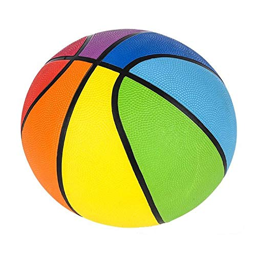 Mozlly Colorful Rainbow Panel Standard Regulation Rubber Basketball 29.5