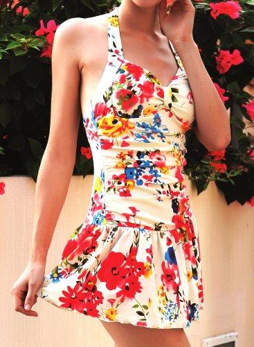 Rock 48 Becher Supremo Kleid abnehmbarer der Beachwear Größe Damen mit Swim Neckhol Badeanzug dwgqOf