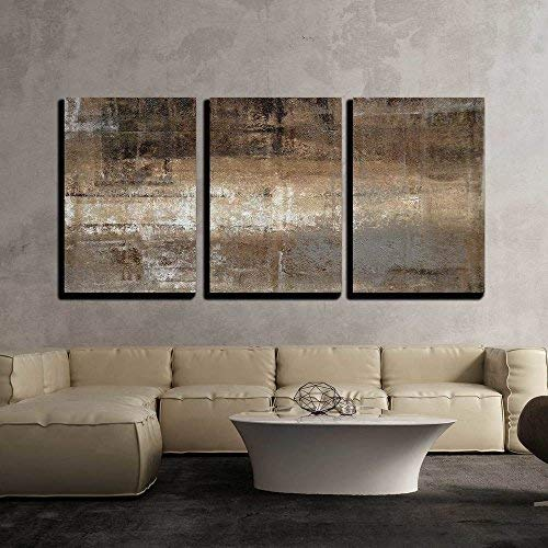 "wall26 - Grey and Brown Painting - Canvas Art Wall Decor - 24""x36""x3 Panels"