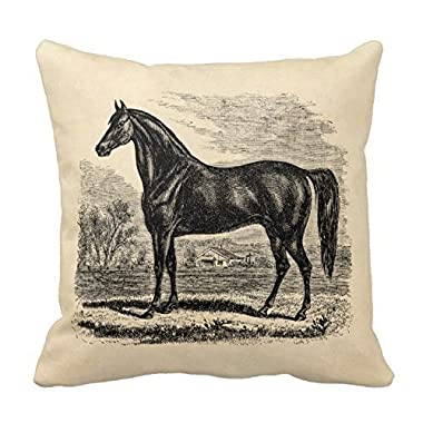 YOUHOME Vintage 1800S Horse - Morgan Equestrian Polyester Decorative Throw Pillow Case Cushion Cover 18 x 18 Inches