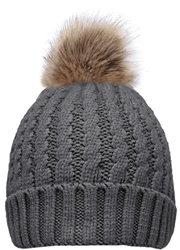 NEOSAN Women's Winter Ribbed Knit Faux Fur Pompoms Chunky Lined Beanie Hats Rope -