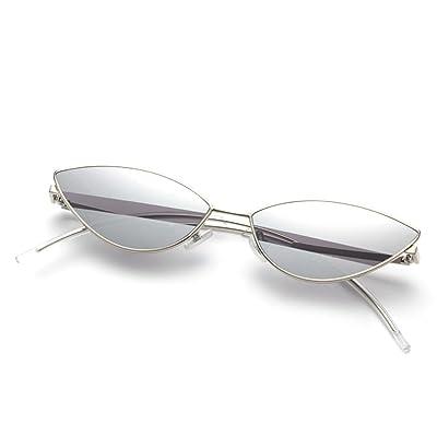 ANHPI Lunettes De Soleil Polarisées Femmes Rétro Confortable Parasol UV Protection Cat Eye Lunettes De Soleil Un Petit Lunettes De Cadre,Silver+Grey