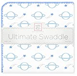 SwaddleDesigns Ultimate Swaddle Blanket, Made in USA, Premium Cotton Flannel, Blue Shooting Stars and Planets