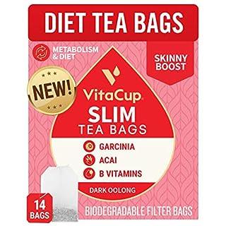 VitaCup® Slim Tea Bags 14ct w/ Oolong Tea & Acai Berry for Skinny Diet, Metabolism, Detox in Sealed Single Serve Tea Sachet Bag