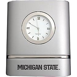 Michigan State University- Two-Toned Desk Clock -Silver