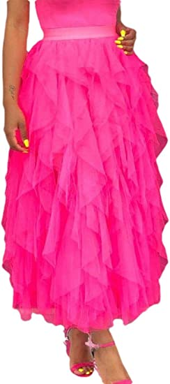 Fly Year-JP 女性不規則な快適なハイウエストプリーツトゥスカートソリッドスカート