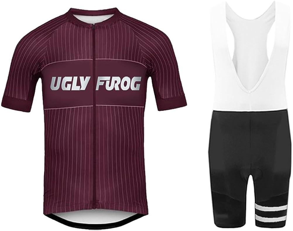 Uglyfrog Herren Radtrikot 3D Padded Bib Shorts Bekleidung Wear Outdoor-Sommer-Breathable Kurze H/ülsen-Fahrrad-Sportbekleidung Set