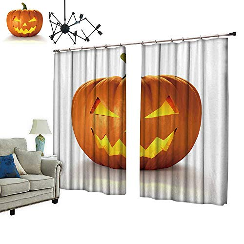 PRUNUS Curtain with Hook Scary Jack O Lantern Halloween Pumpkin with Candle Light Inside,d Render Blackout Draperies for Bedroom,W96.5 -