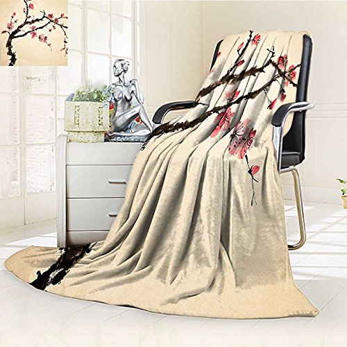 YOYI-HOME Soft Warm Cozy Throw Duplex Printed Blanket Paint Style of Figural Tree with Highly Detail Brushstroke Effects Pink Brown Anti-Static,2 Ply Thick,Hypoallergenic/W86.5