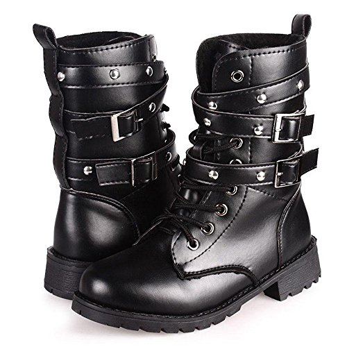 [Paris Hill Women's Rivet Lace Up Mid Calf Military Boots Black 9 US] (Sexy Combat Boots)
