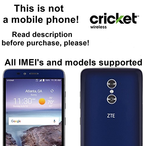Cricket Wireless USA Unlocking Service for ZTE Blade V Max, Kis 3, Rio 3, Zmax Pro, Avid Plus, Obsidian, MAVEN and Other Models Which Ask For an Unlock Code - Make Your Device More Useful Than Before - Choose Any Carrier at Your Own at Any Time You Need - No Re-lock Lifetime Guarantee