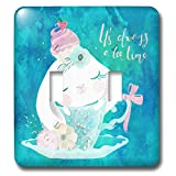 3dRose Uta Naumann Sayings and Typography - Cute Teal Animal Watercolor Illustration - Bunny - Always Teatime - Light Switch Covers - double toggle switch (lsp_289941_2)