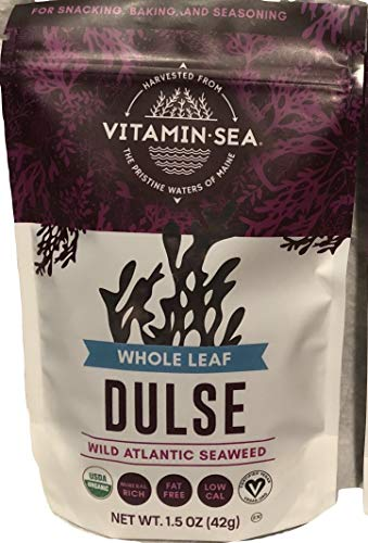 VITAMINSEA Organic Dulse Whole Leaf - 1.5 oz Maine Coast Seaweed - USDA & Vegan Certified - Kosher - Keto or Paleo Diets - Atlantic Ocean (DWL1.5)