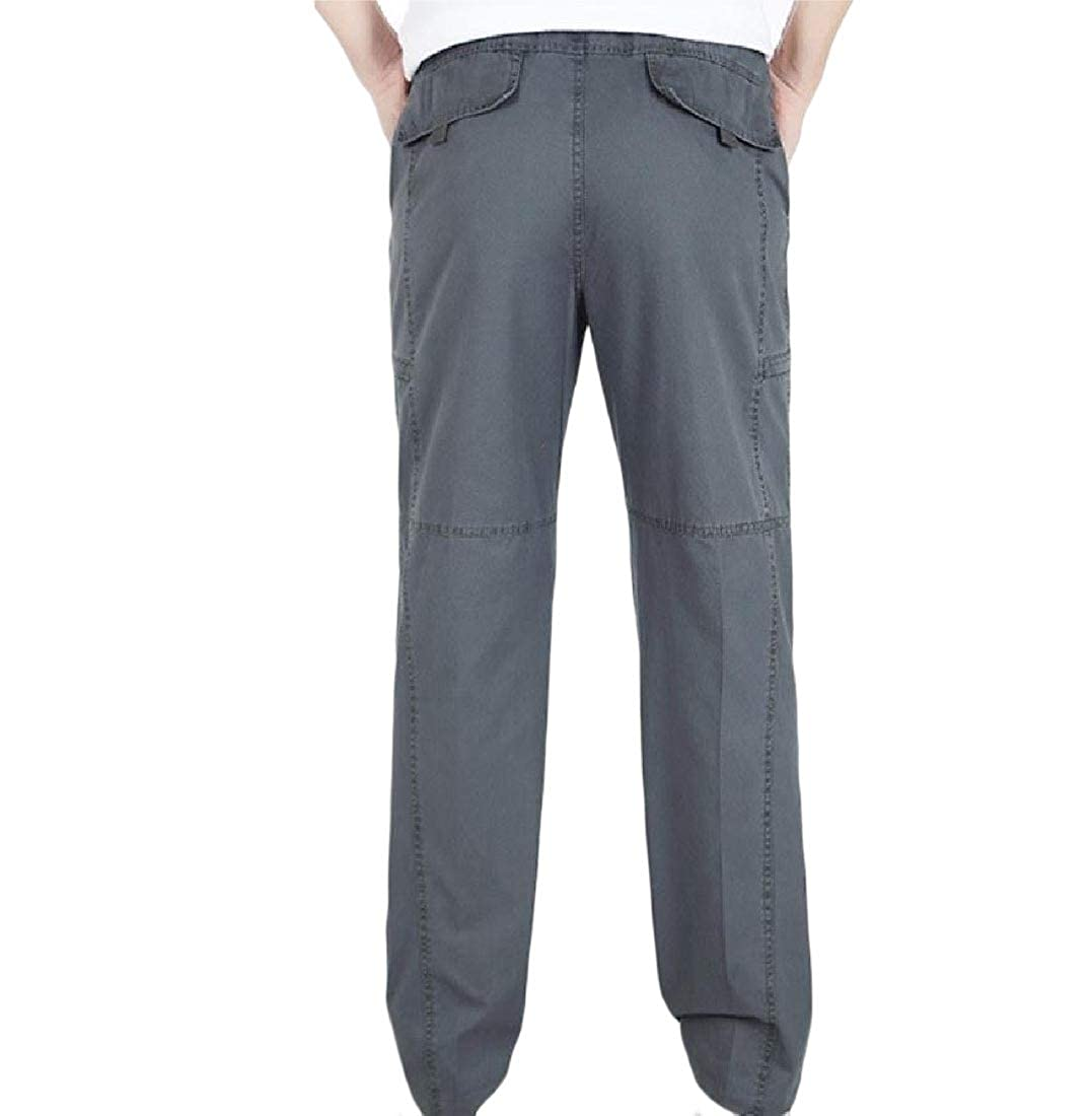 YUNY Mens Multi-Pocket Straight Work Wear Cargo Cozy Casual Trousers Gray 2XL