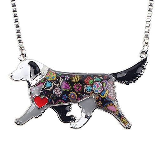 - BONSNY Love Pets Enamel Zinc Alloy Golden Retriever Necklace Dog Animal Pendant Women Jewelry 24