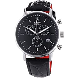DETOMASO Men's DT1052-A MILANO Chronograph Classic schwarz/schwarz Analog Display Swiss Quartz Black Watch