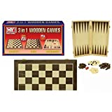 Carousel My Traditional Games 3 In 1 Folding Wooden Chess Draughts And Backgammon Set