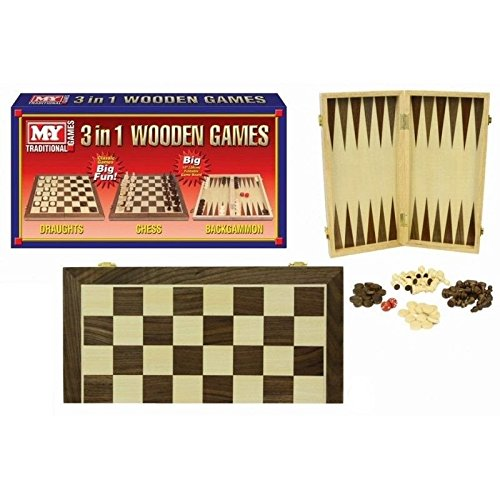 Carousel My Traditional Games 3 In 1 Folding Wooden Chess Draughts And Backgammon Set by Carousel