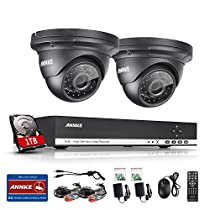 ANNKE 8CH 1.3MP 1280x960p Security Camera System 1080N Digital Video Recorder with 1TB Hard Drive and (2) 960P 1500TVL Outdoor Fixed Weatherproof Cameras, HDMI Output, QR Code Scan to Remote View