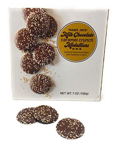 (NEW!!! Trader Joe's Milk Chocolate Caramel Crunch Medallions - Caramel Filled Chocolates With Hazelnut Crunch - NET Wt 7OZ)