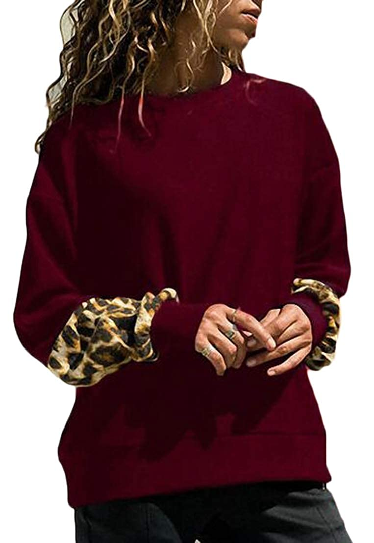 Generic Womens Casual Leopard Stitching Long Sleeve Sweatshirt Pullover Tops