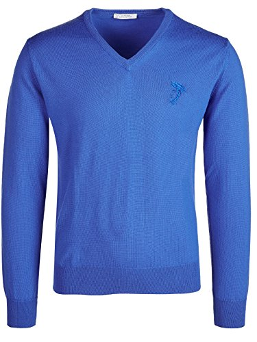 Versace Collection Medium Blue V-neck Wool Sweater (S) by Versace (Image #2)'