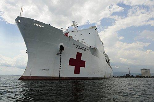 - Posterazzi Military Sealift Command Hospital Ship USNS Comfort at Port Poster Print, (34 x 22)