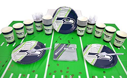 National Football Fan Shop Authentic NFL Tailgate Party Kit Bundle for 20 Fans - Table Setting and More (Seattle Seahawks) ()