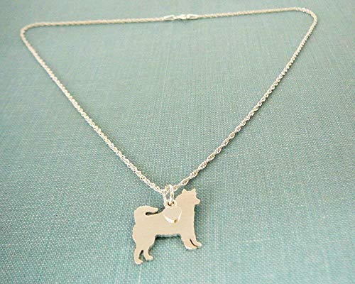 .925 Sterling Silver Siberian Husky Dog Necklace