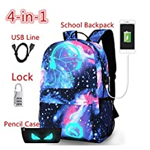 YOUFAN Cartoon Luminous Backpack with USB Charging Port and Lock &Pencil Case, Unisex Fashion Daypack Shoulder School Rucksack Laptop Travel Bag College Bookbag