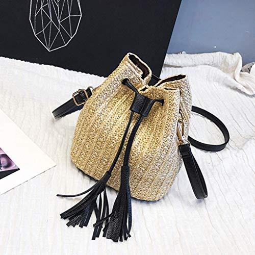 Crossbody Women Tassel Luckylin Messenger Bag Bag Beach Bag Weaving Bag Vintage Khaki Shoulder 5O6q8w