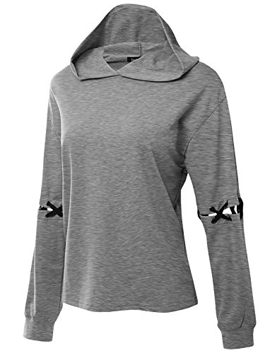 JayJay Women Casual Athleisure Caged Lace up Sleeve Pullover Loose Fit Hoodie Sweater Shirt,HeatherGray,L