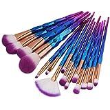 zebra print hair brush - 15PCS Rosegold Makeup Brush Set Foundation Blusher Powder Brush Tools Flat Eyeliner Eyebrow Makeup Brush Kit 2