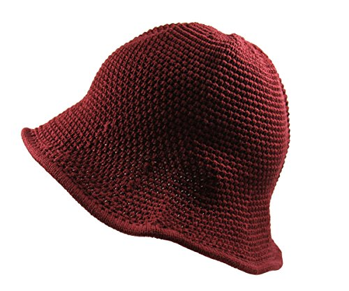 RW Knitted Crochet Fordable Hat With Flexible Wire Big Brim (Burgundy)