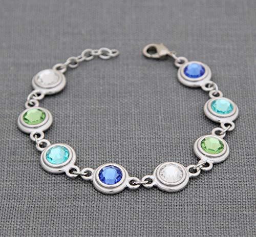 Heirloom Custom Bracelets - Personalized Grandma Bracelet, Custom Birthstone Jewelry, Gift for Grandmother Mother, with Swarovski Crystal Family Birth Months