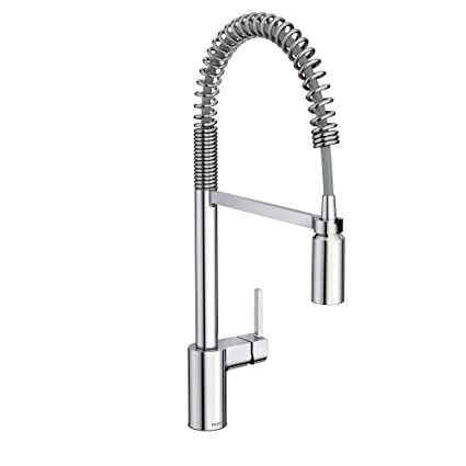 Moen 5923 Align One Handle Pre Rinse Spring Pulldown Kitchen Faucet With Power Clean Chrome