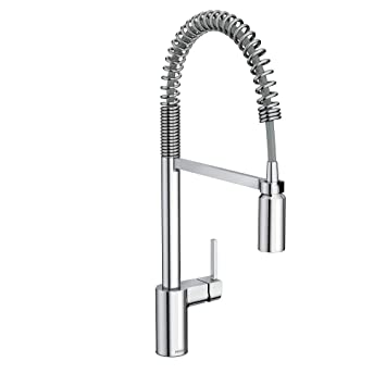 Moen 5923 Align One Handle Pre Rinse Spring Pulldown Kitchen Faucet, Chrome